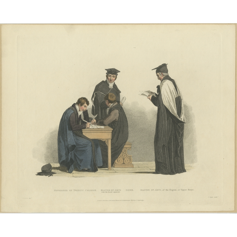 Antique Print of four Men in Academic Costumes by Ackermann (1815)