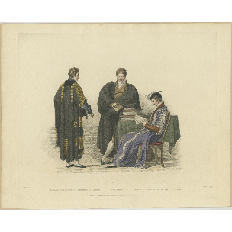 Antique Print of a Nobleman and Fellow-commoner by Ackermann (1815)