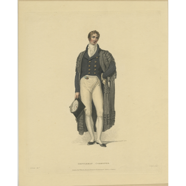 Antique Print of a Gentleman-Commoner by Ackermann (1814)