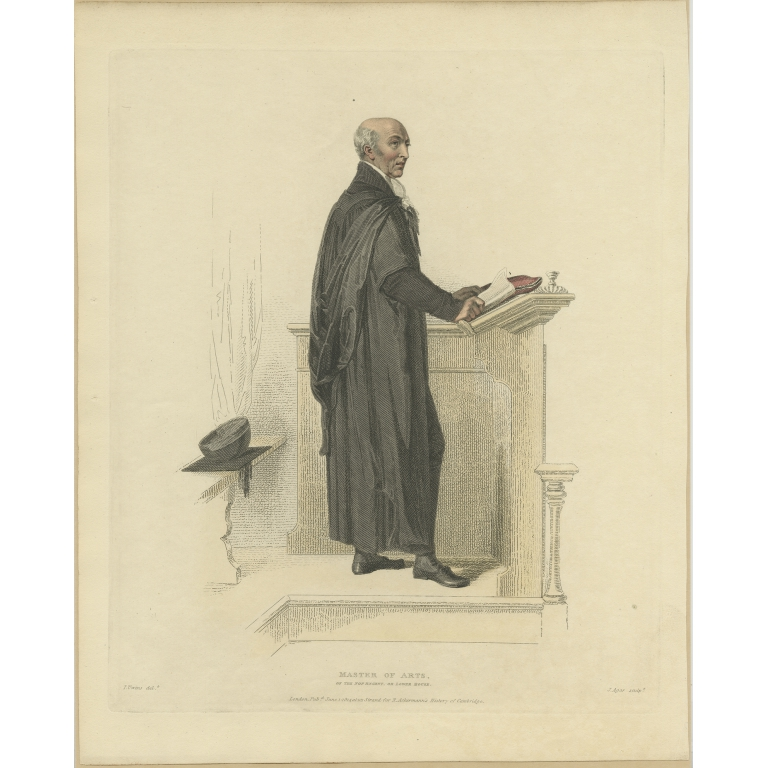 Antique Print of a Master of Arts of the Lower House by Ackermann (1814)