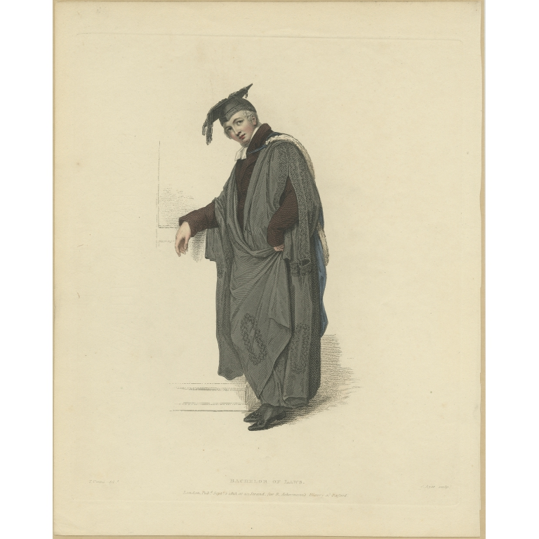 Antique Print of a Bachelor of Laws by Ackermann (1813)