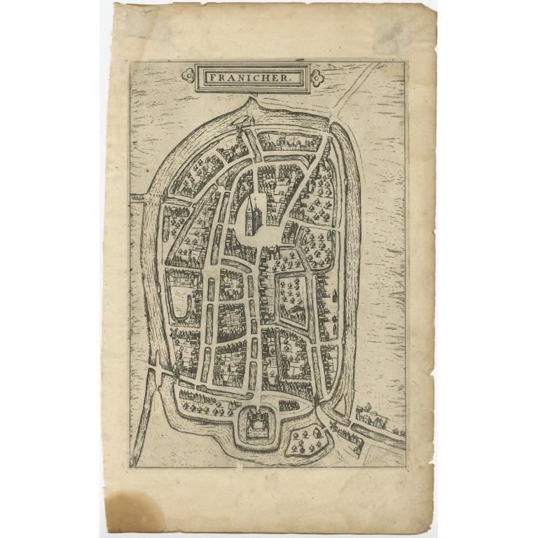 Antique Map of Franeker by Guicciardini (1609)