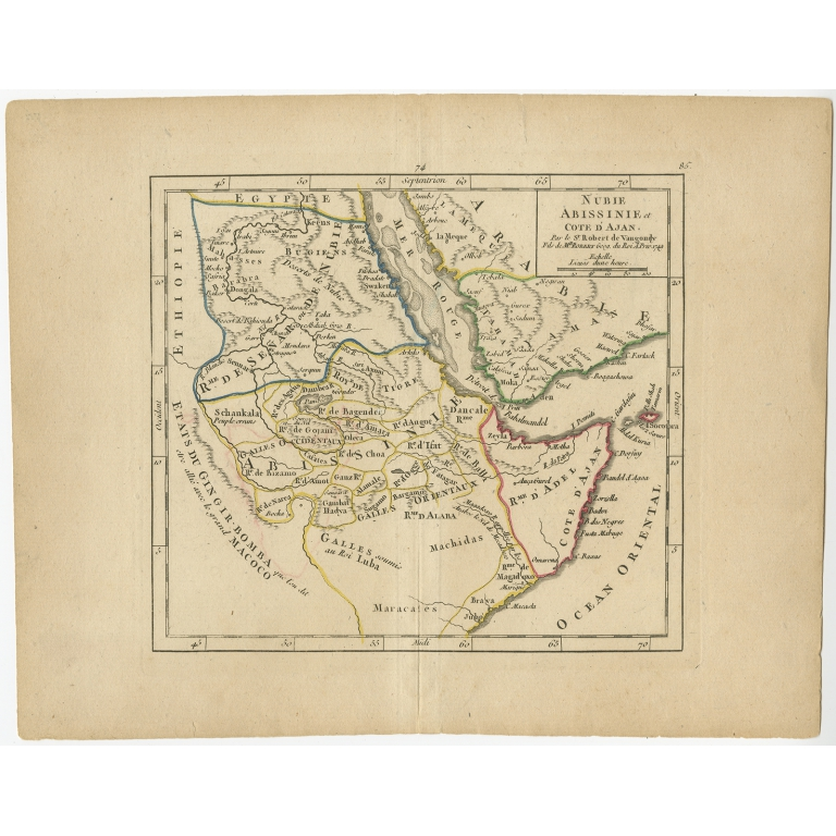 Antique Map of Abyssinia, Sudan and the Red Sea by Vaugondy (1749)