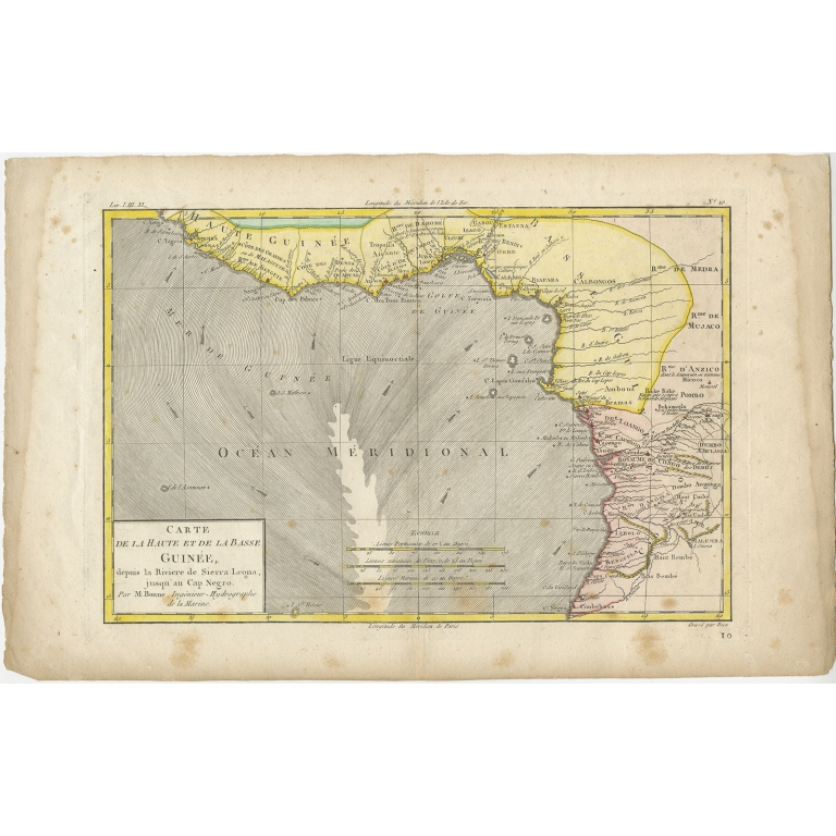 Antique Map of the Coast of Guinea by Dien (1820)