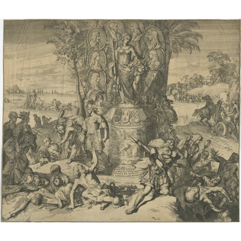 Antique Print with an Allegory of the Peace of Nijmegen by De Hooghe (1676)