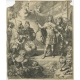 Antique Print with an allegorical portrait of Charles of Austria by De Hooghe (1704)