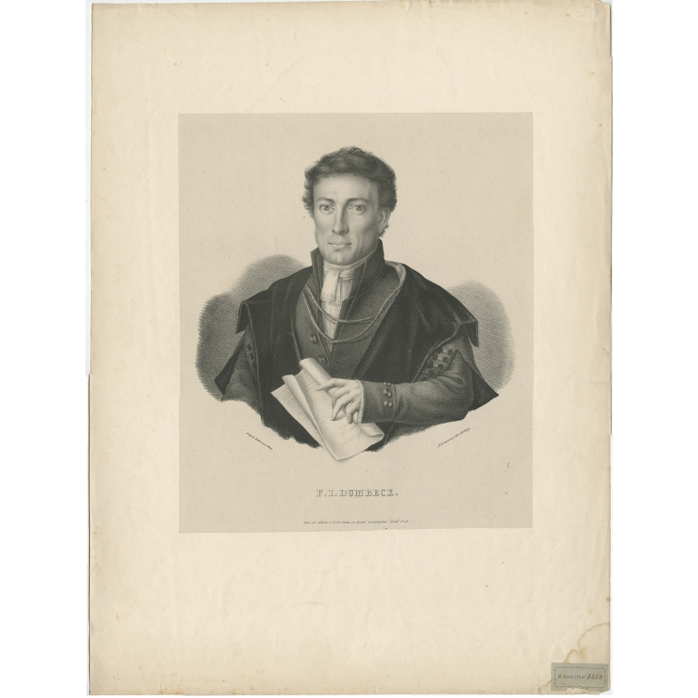 Antique Portrait of F.I. Dumbeck by Lemonnier (1827)