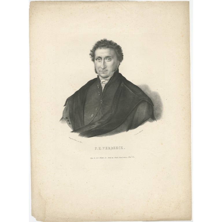 Antique Portrait of F.E. Verbeeck by Lemonnier (c.1840)