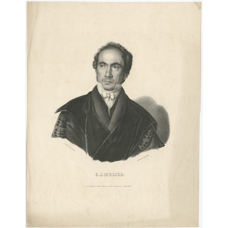 Antique Portrait of G.J. Meijer by Lemonnier (c.1840)