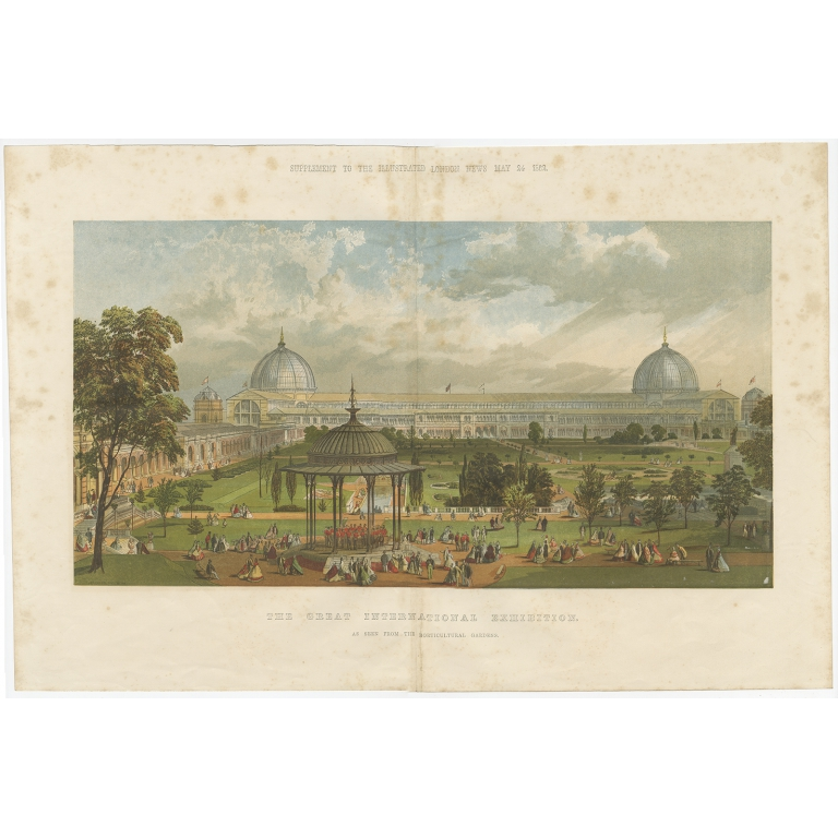 Antique Print of the Great London Exposition (1862)