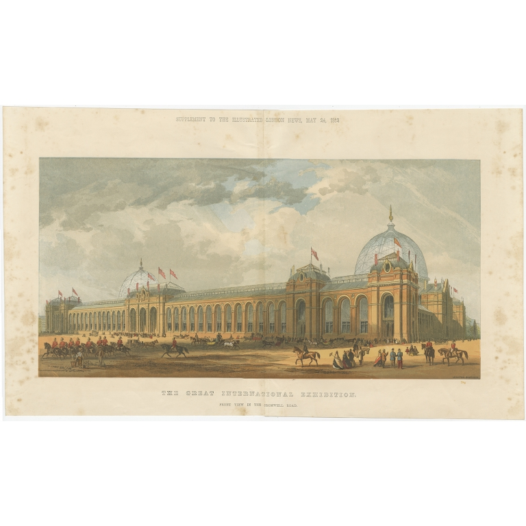 Antique Print of the Great London Exposition seen from Cromwell Road (1862)