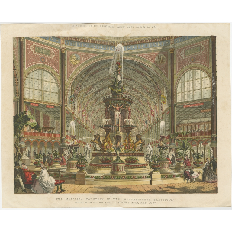 Antique Print of the Majolica Fountain in the International Exhibition (1862)