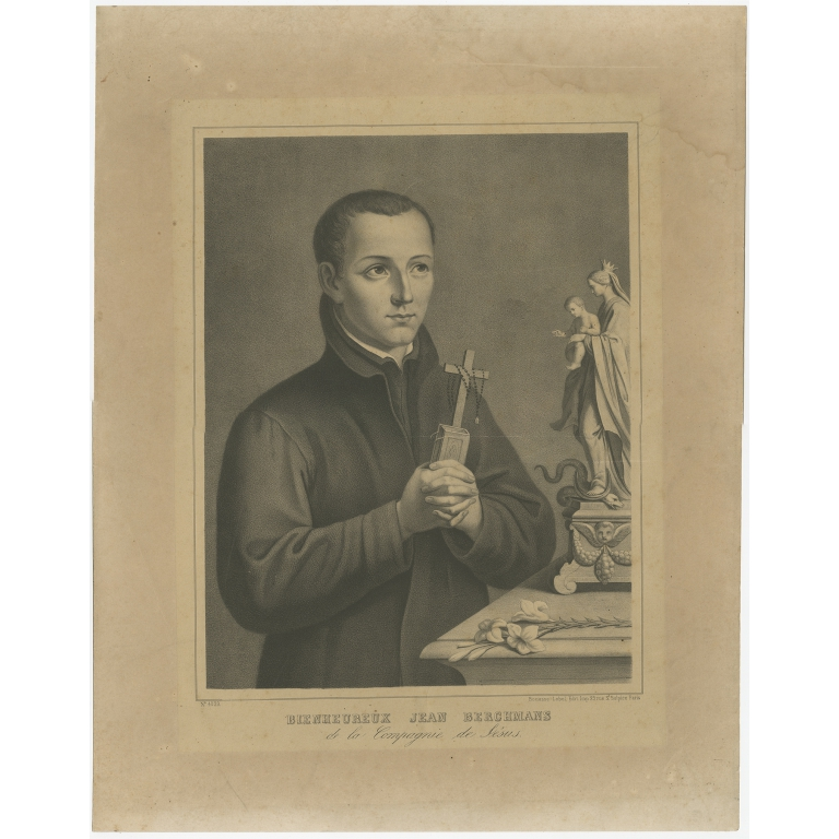 Antique Portrait of Saint John Berchmans by Bouasse-Lebel (c.1850)