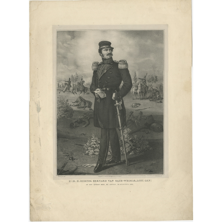 Antique Portrait of Prince Bernhard of Saxe-Weimar-Eisenach by Desguerrois (c.1850)