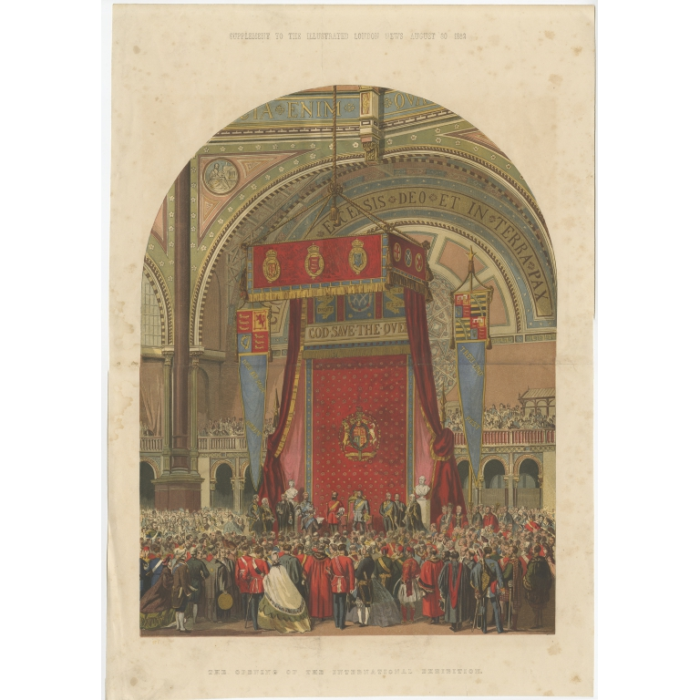 Antique Print of the Opening of the International Exhibition (1862)