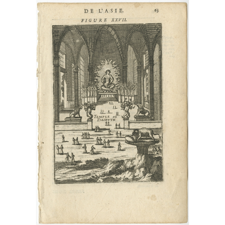 Antique Print of the temple of Daibuth by Mallet (1683)