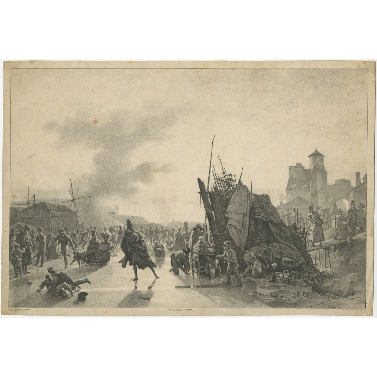 Antique Print of an Ice Skating scene made after Leprince (c.1823)