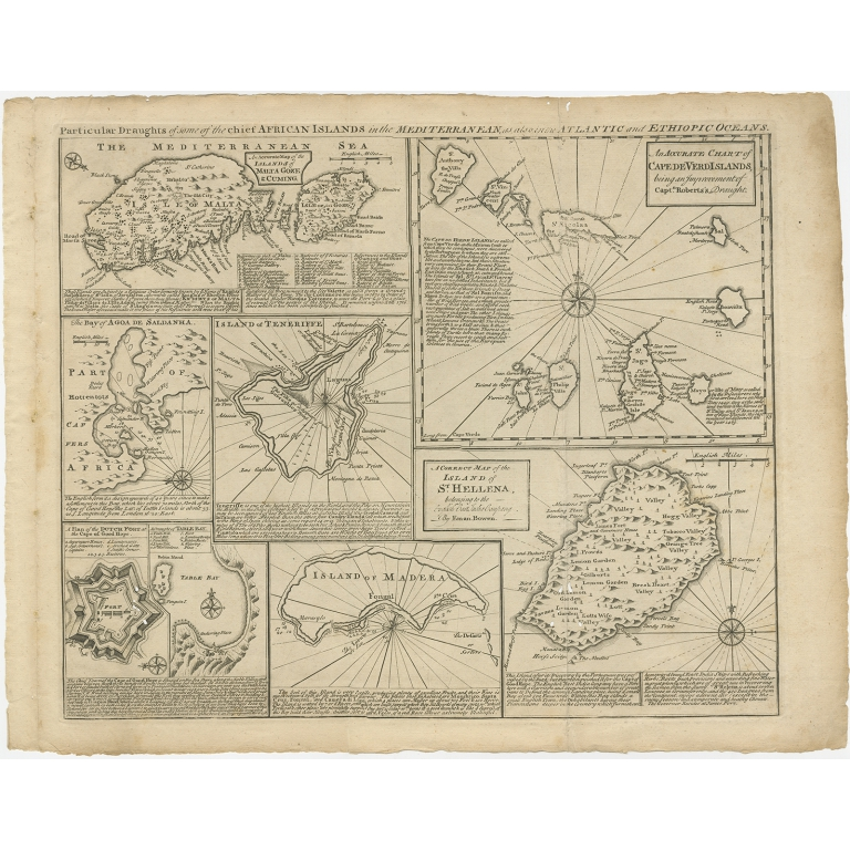 Antique Map of Islands in the Mediterranean Sea by Bowen (1747)