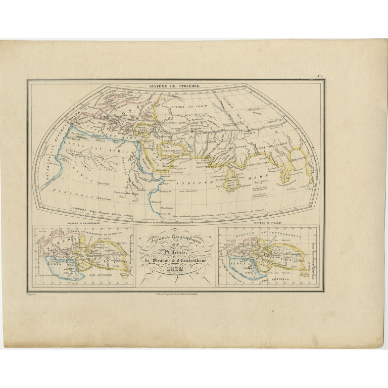 Antique Map of the World of Ptolemy, Strabo and Eratosthenes by Malte-Brun (1837)