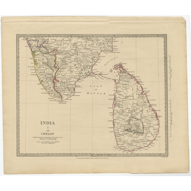 Pl. 1 Antique Map of India and Ceylon by Walker (1831)