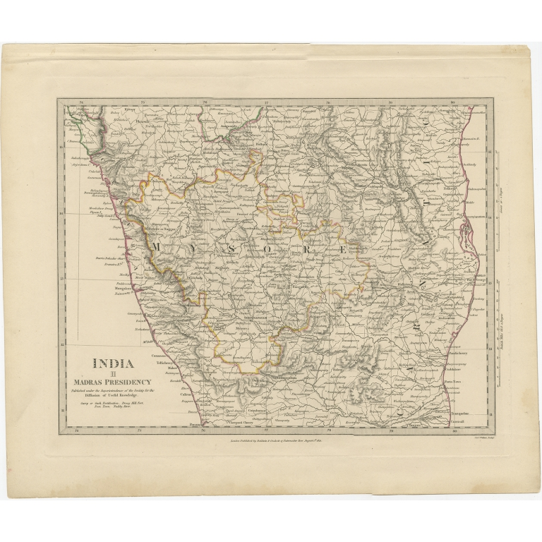 Pl. 2 Antique Map of the western part of the Madras Presidency by Walker (1831)