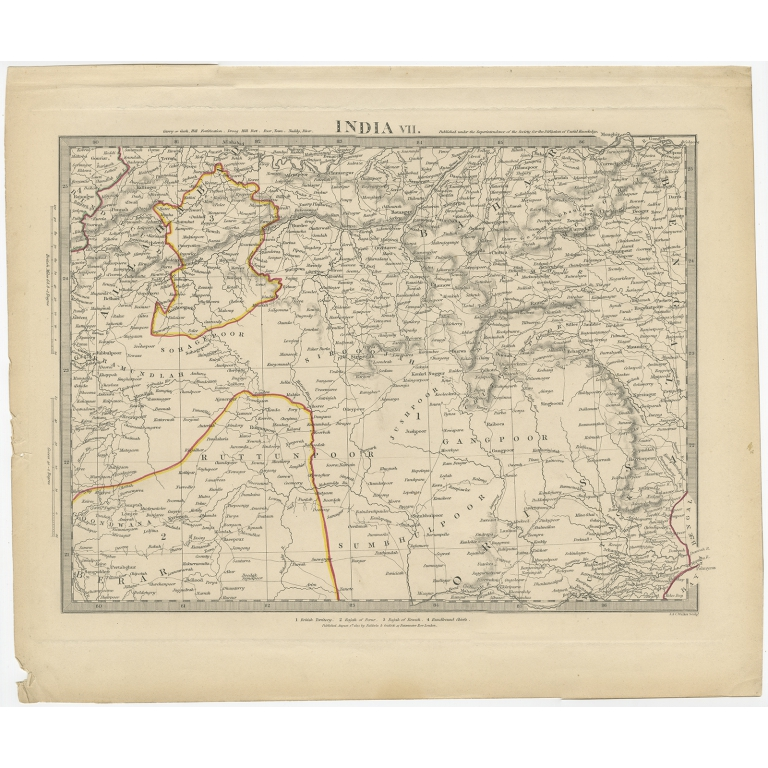 Pl. 7 Antique Map of the Region of Berar and Rewah by Walker (1832)