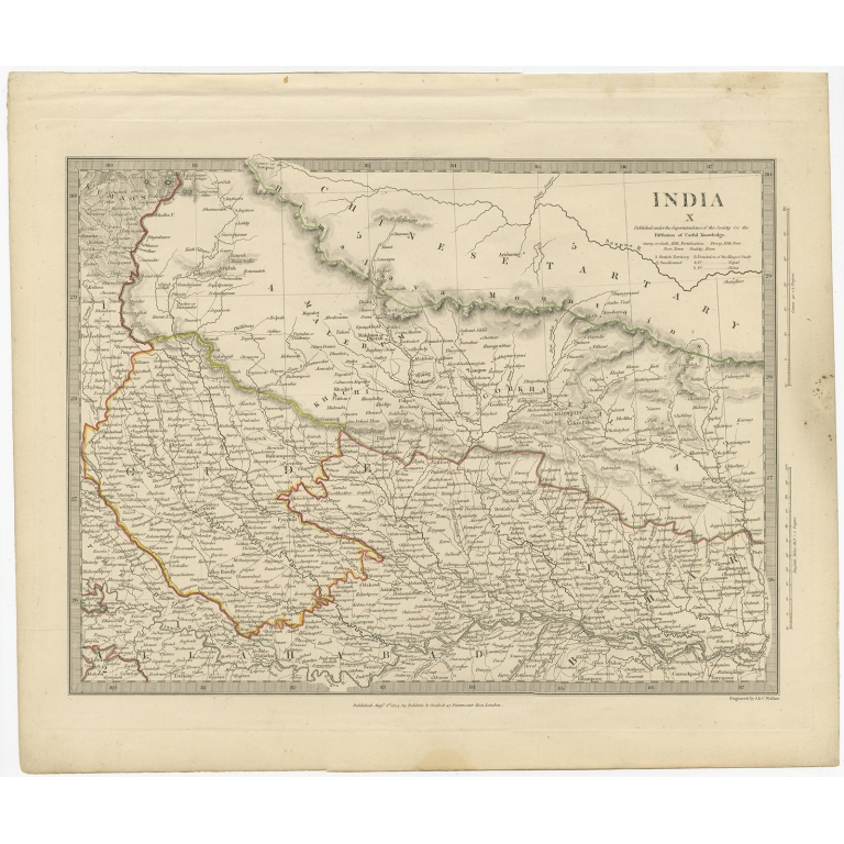 Pl. 10 Antique Map of part of the Bahar region (India) by Walker (1834)