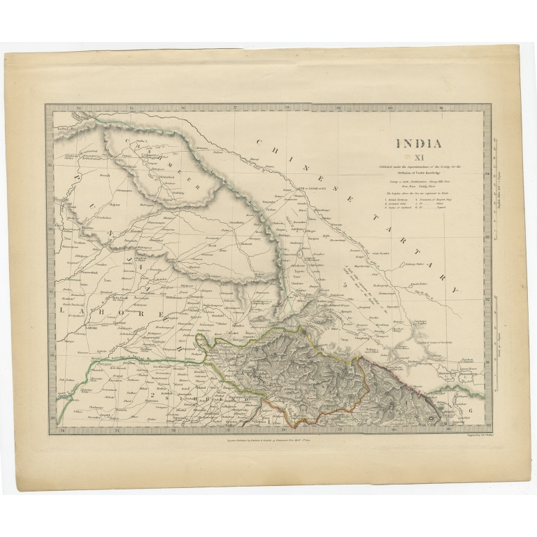 Pl. 11 Antique Map of part of the Punjab region (India) by Walker (1834)