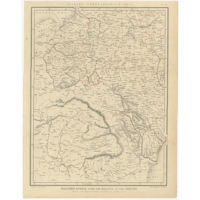 Antique Map of Russia from the Baltic to the Black Sea by Sharpe (1849)