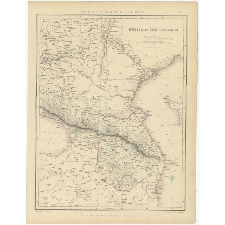 Antique Map of Russia and the Caucasus by Sharpe (1849)