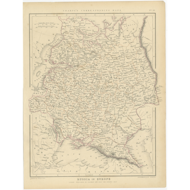 Antique Map of Russia in Europe by Sharpe (1849)