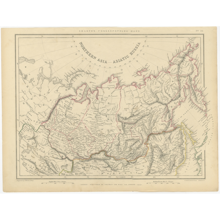 Antique Map of Russia in Asia by Sharpe (1849)
