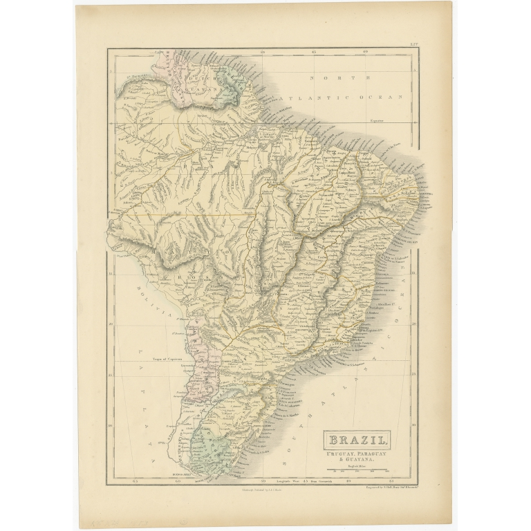 Antique Map of Brazil, Uruguay and surroundings by Hall (1853)