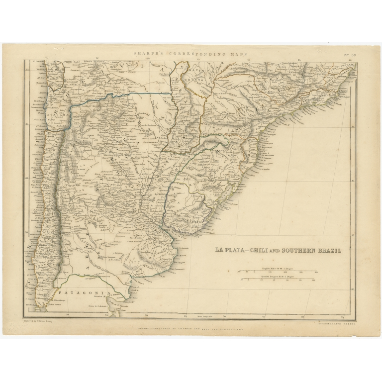 Antique Map of La Plata, Chili and Southern Brazil by Sharpe (1849)