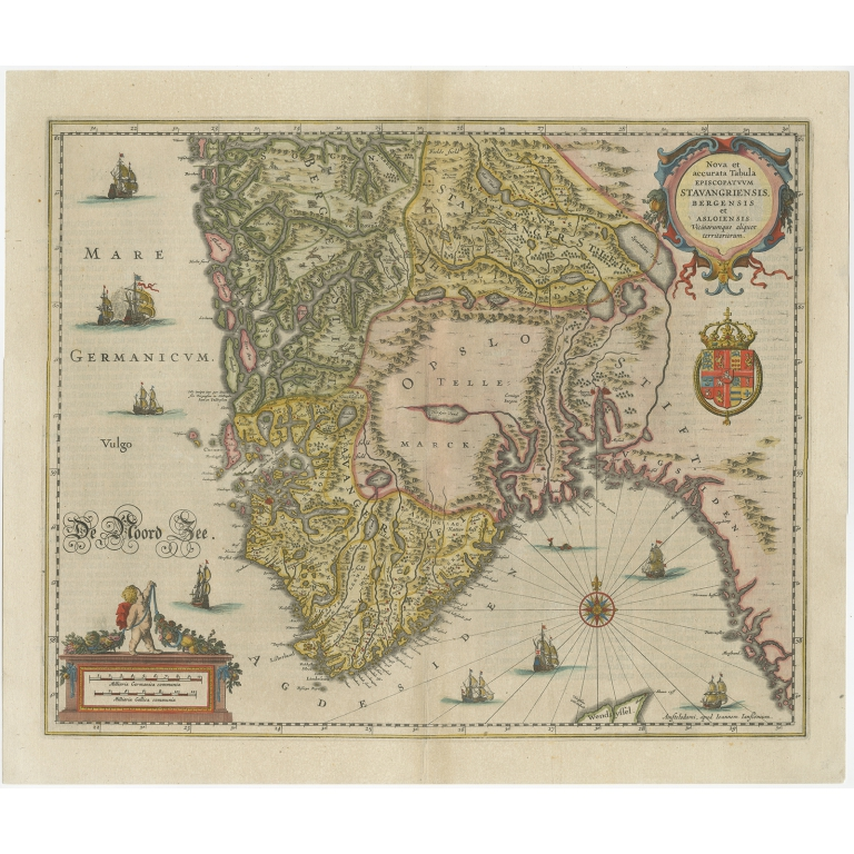 Antique Map of Southern Norway by Janssonius (c.1650)