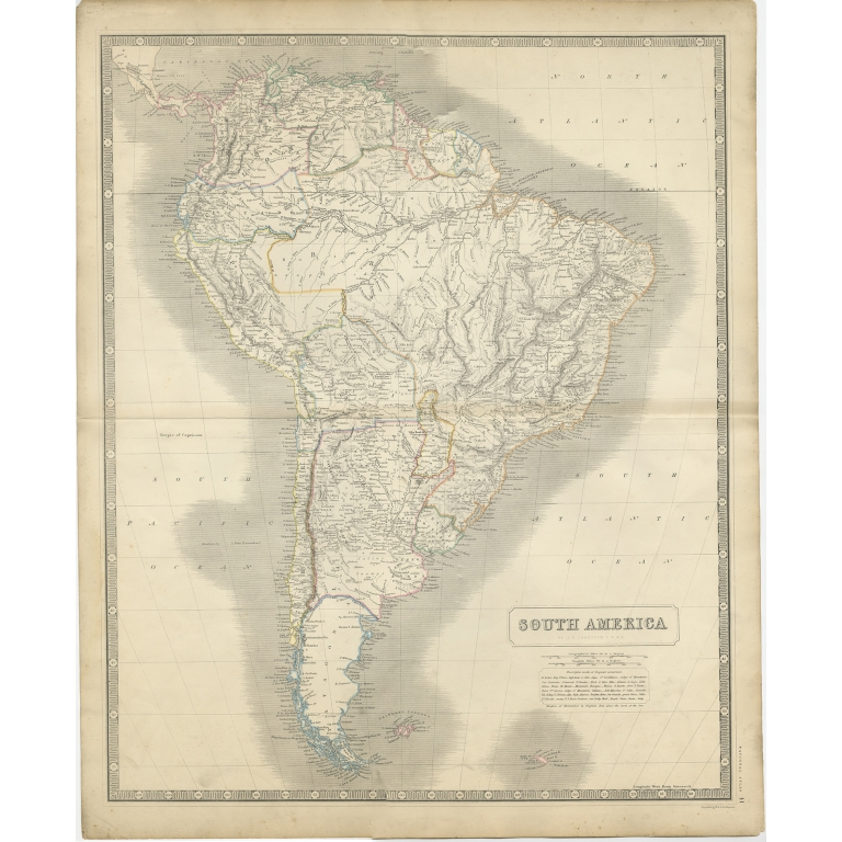 Antique Map of South America by Johnston (1844)