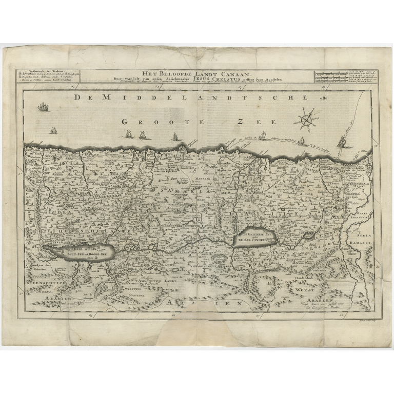 Antique Map of the Holy Land by Schut (1710)