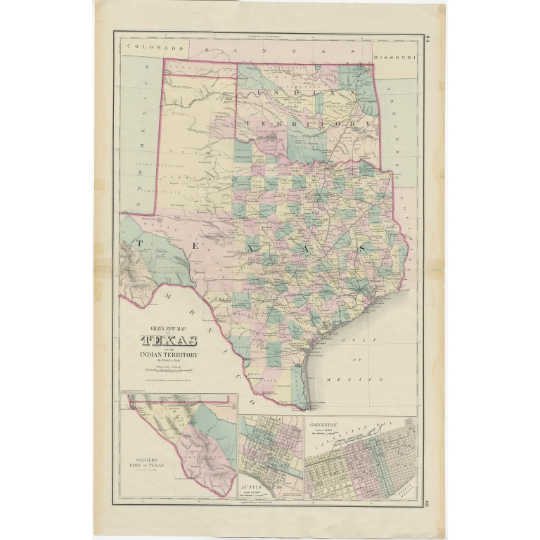Antique Map of Texas and Indian Territory by Gray (1875)