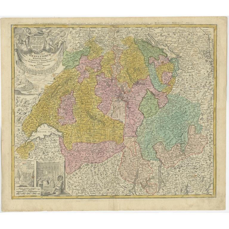 Antique Map of Switzerland by Homann Heirs (c.1732)