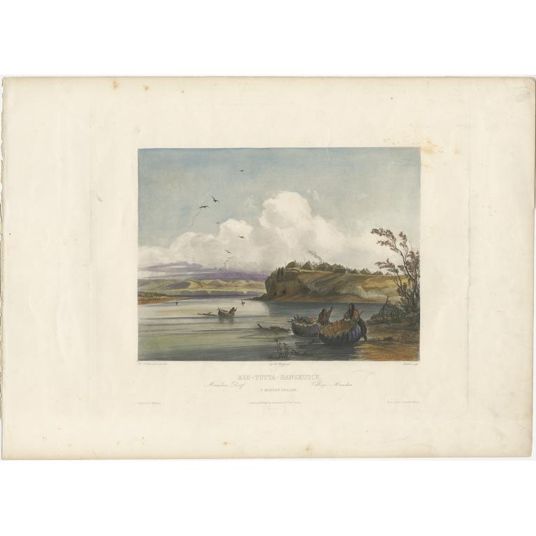 Antique Print of a Mandan Village made after Bodmer (c.1840)