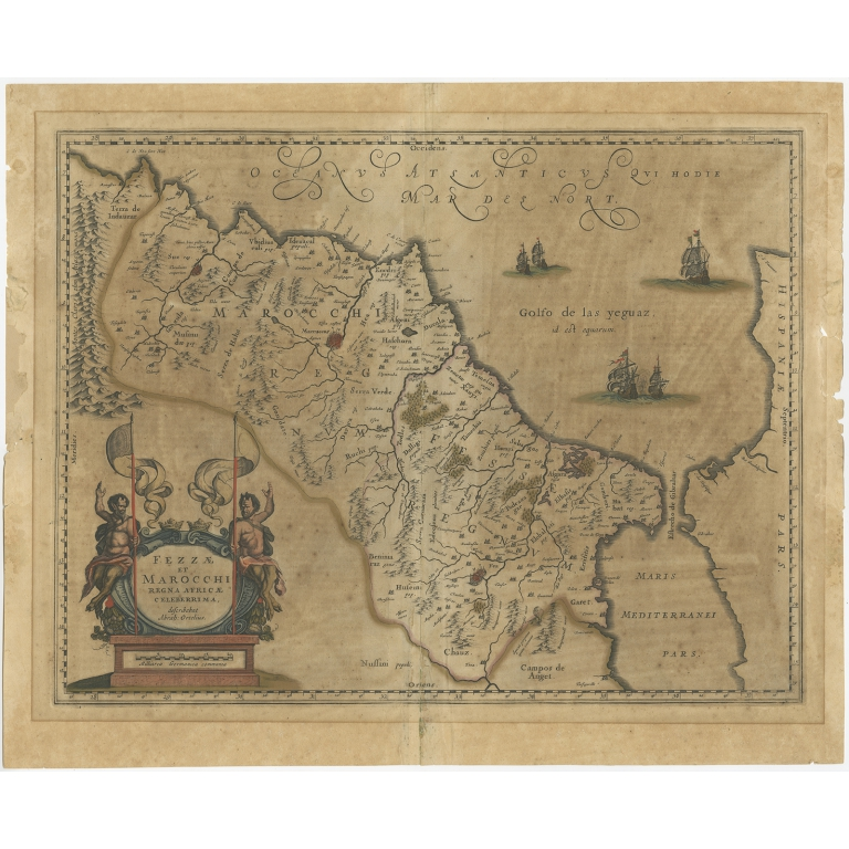 Antique Map of Morocco by Ortelius (1636)