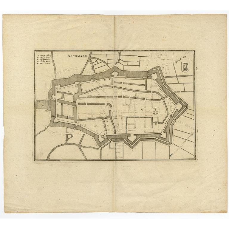 Antique Map of the City of Alkmaar by Merian (1659)