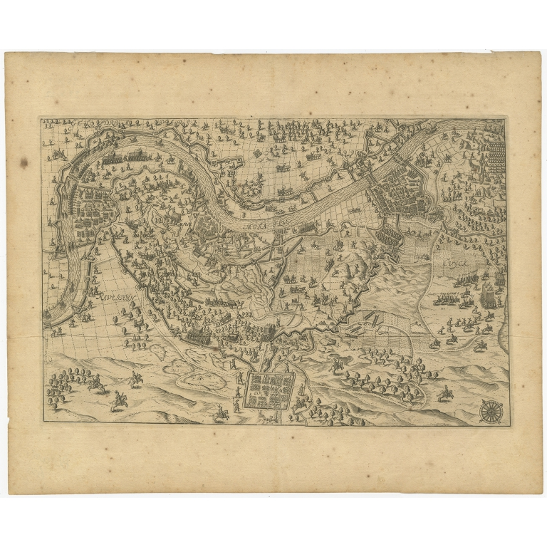 Antique Map of the Region of Grave by Orlers (1615)
