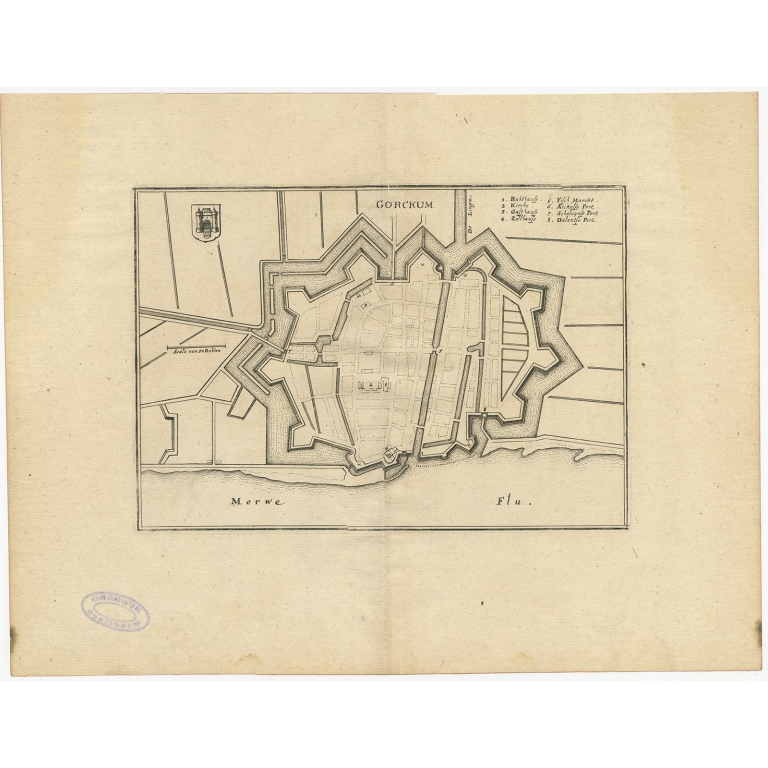Antique Map of the City of Gorinchem by Merian (1659)