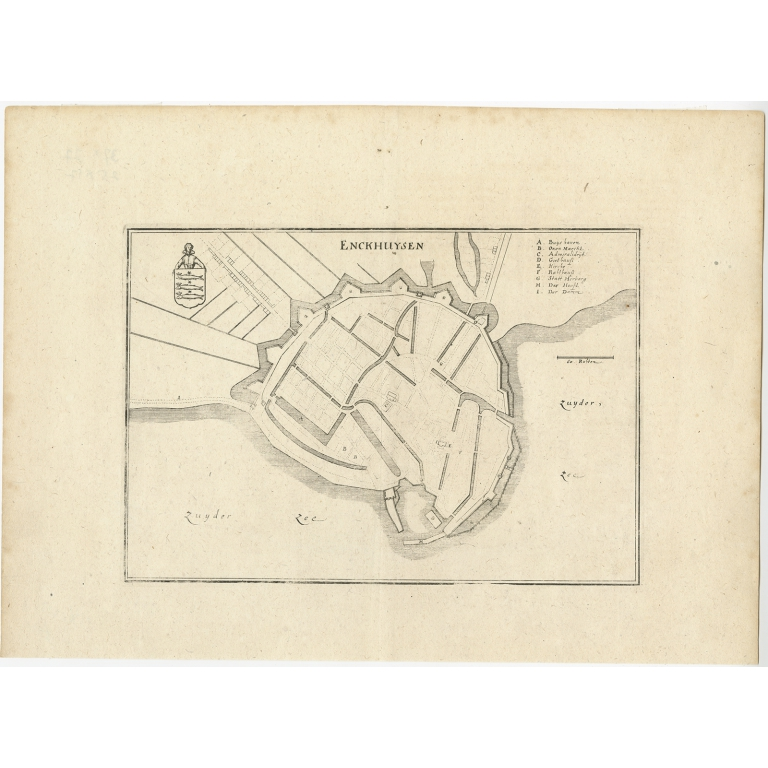 Antique Map of the City of Enkhuizen by Merian (1659)