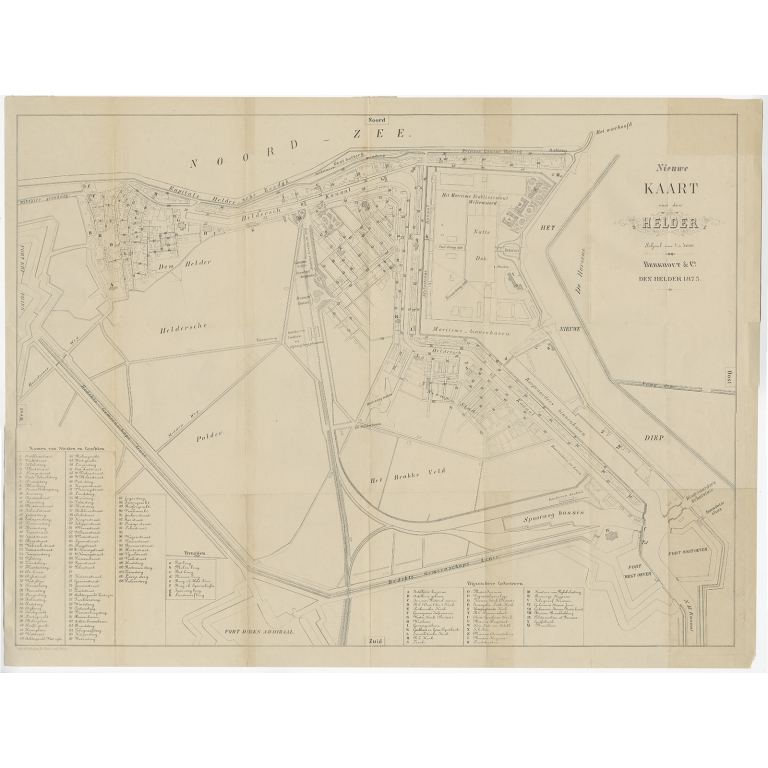 Antique Map of the City of Den Helder by Berkhout & Co (1875)