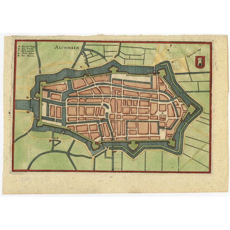 Antique Map of the City of Alkmaar by Merian (c.1659)