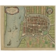 Antique Map of the City of Schoonhoven by De Wit (c.1700)