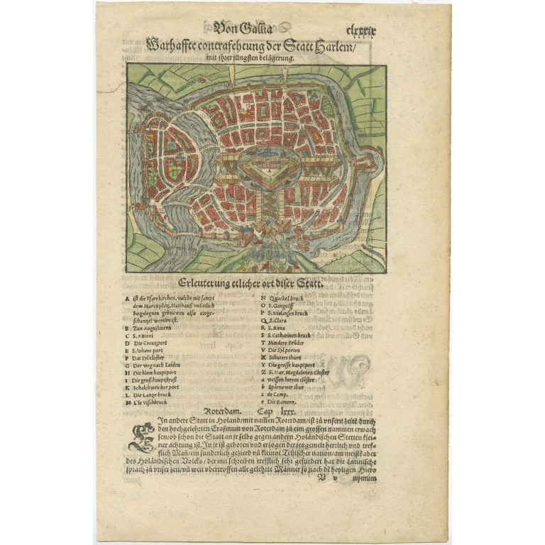 Antique Map of the City of Haarlem by Münster (c.1580)
