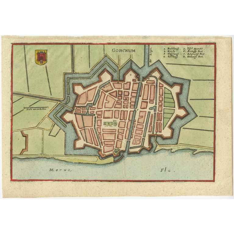 Antique Map of the City of Gorinchem by Merian (c.1659)